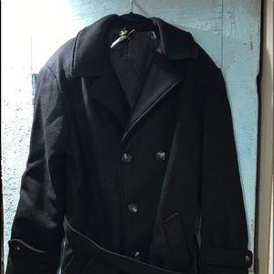 Men's Cal Craft black trench coat